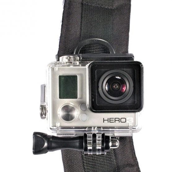 gopro mounted to backpack shoulder strap