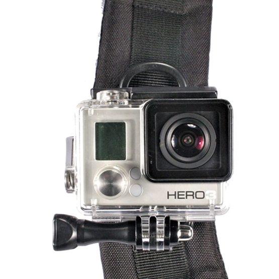 gopro mounted to backpack shoulder strap